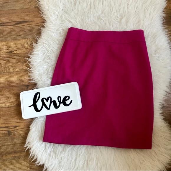J. Crew bright berry pink wool blend pencil skirt